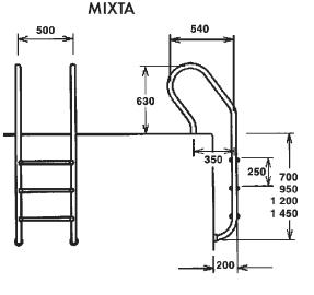 Лестница Mixta 2 ступени AISI 316 - изображение 2