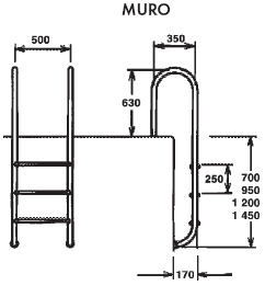 Лестница Muro 2 ступени AISI 316 - изображение 2