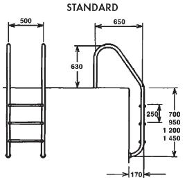 Лестница Standart 2 ступени AISI 316 - изображение 2