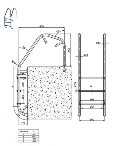 Лестницы для переливного бассейна серия MUNICH, сталь AISI 316 - изображение 2
