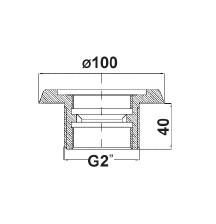 """Закладной элемент MTS, нерж. сталь, 40 мм AG R 2"""" х R 11/2"""" IG резьба 40 мм - изображение 2"""