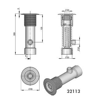 Гидромассажный набор для бетонных бассейнов, пластик, наружный диаметр — 195мм - изображение 2