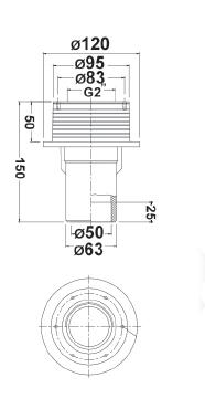 """Проход через стену бассейна R 2"""" х 11/2"""", присоединение 50 мм, 63 мм, длина 150 мм - изображение 2"""