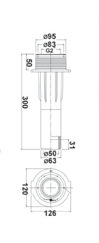 """Проход через стену бассейна R 2"""" х 11/2"""", присоединение 50 мм, 63 мм, длина 300 мм - изображение 2"""