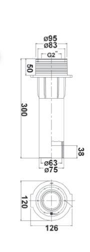 """Проход через стену бассейна R 2"""" х 2"""", присоединение 63 мм, 75 мм, длина 300 мм - изображение 2"""