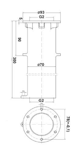 """Проход через стену бассейна, нерж. сталь, R 2"""", длина 300 мм - изображение 2"""