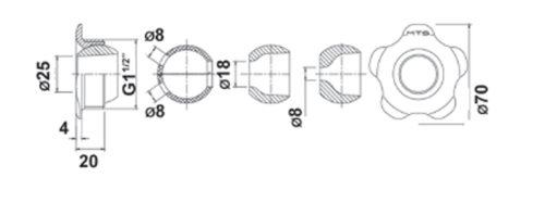 """Впускная форсунка 9 мм – R 11/2"""", акриловый шарик - изображение 2"""