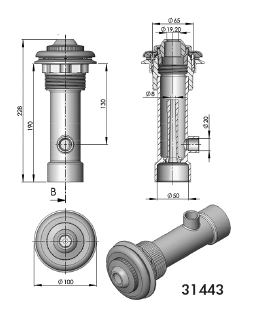 Гидромассажный набор для бетонных бассейнов с пленкой, пластик, глубина — 195мм - изображение 2