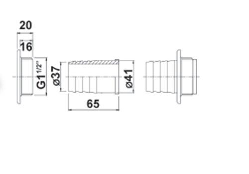 Форсунка для очистительного шланга 38 мм со скользящей гайкой ABS – наконечник для основного элемента (напр., для бассейна с переливом) - изображение 2