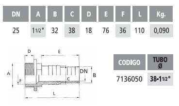 Насадка на шланг длинная с резьбой 38-32 мм -1 1/2″ резьба наружная - изображение 2