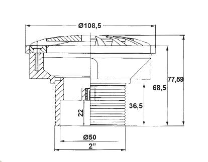 Донная форсунка Kripsol 14 м3/ч, закрывающаяся 0–100 %, под пленку, присоединение 50 мм - изображение 2
