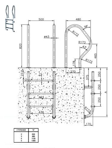 Лестницы раздельные, сталь AISI 304 - изображение 2