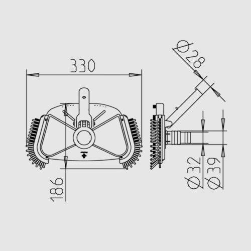 Щетка для пылесоса DE LUX 330 х 186 мм с боковой ворсой - изображение 2