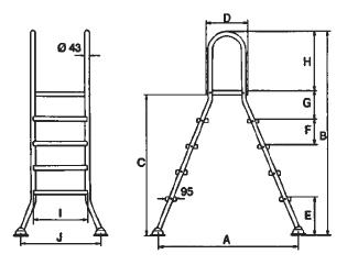 Лестница 5+5 ступ.(для сборных наземных бассейнов h=1,5 м) - изображение 2