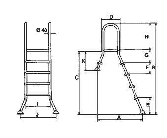 Лестница 5+1 ступ.(для сборных наземных бассейнов h=1,5 м) - изображение 2