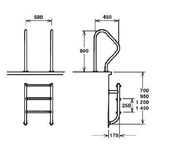 Лестница раздельная 5 ступени, AISI 316 - изображение 2