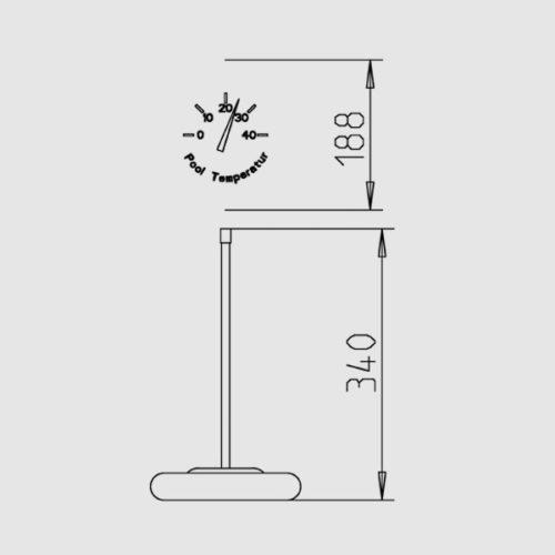 Термометр с резиновым обручем, диаметр 18 см, измерение 0-43 град - изображение 2