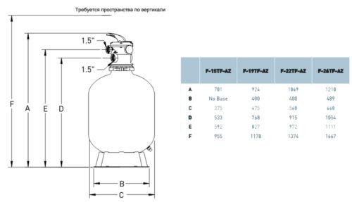 Фильтровальная емкость AZUR 560 мм, производительность 12 м3/ч, 6-ходовой верхний клапан - изображение 2