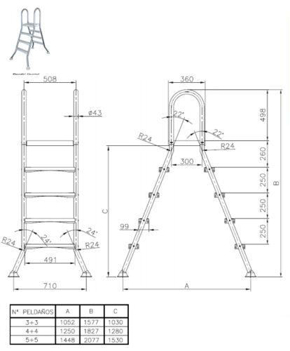 Лестницы для сборных наземных бассейнов серия EEP - изображение 2