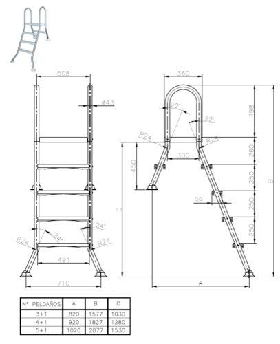 Лестницы для сборных наземных бассейнов серия ESP - изображение 2