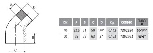 Колено 45° 50 мм х 1 1/2″ резьба наружная - изображение 2