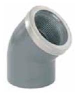 Колено 45° 40 мм х  1 1/4″ резьба внутренняя с металлическим кольцом