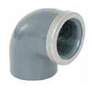 Колено 90° 63 мм х 2″ резьба внутренняя с металлическим кольцом