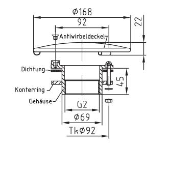 """Донный слив Fitstar ∅ 168 мм для литых чаш с контргайкой, внутренняя резьба 2"""" - изображение 2"""