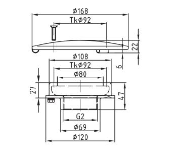 """Донный слив Fitstar ∅ 168 мм, вертикальный внутренняя резьба 2"""" - изображение 2"""