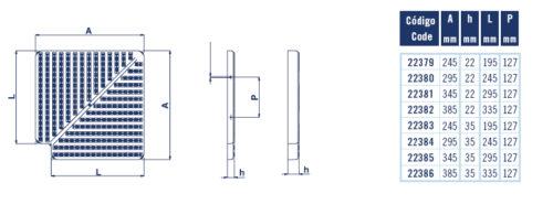 Угол Astral к бортовой решетке — 90град. ширина 245 мм, высота 22 мм - изображение 2