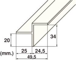 Уголок переливного желоба Kripsol — длина 2 м, внутренний, 34х20 мм