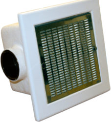 Донный слив для коммерческих бассейнов 480×480 мм 40 м3/час, пластик, нерж.накладка, подключение 110 мм.