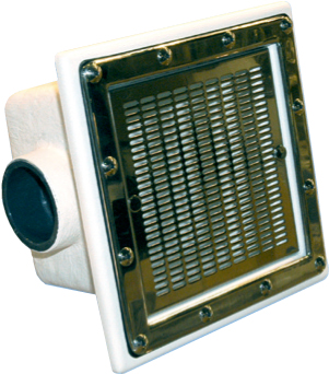 Донный слив для коммерческих бассейнов 250×250 мм 19 м3/час, пластик, нерж.накладка, подключение 75 мм.