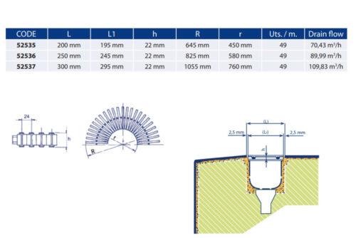 Решетка переливного лотка, ASTRAL, высота 22 мм, ширина 195/245/295 мм - изображение 2