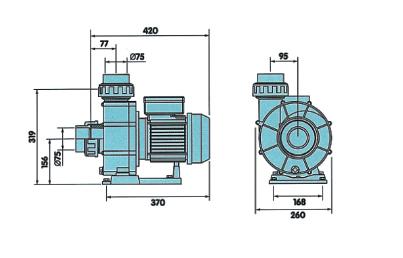 Насос  NEW BCC 300T  58м3/ч, 75 мм, 2,6 кВт, 380 В, без префильтра - изображение 2