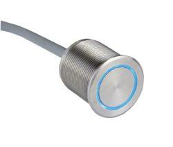 Пьезокнопка с подсветкой RGB, нерж.сталь, IP69, кабель 2 / 8 / 15 м.