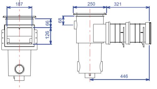 Скиммер BWT, модель SL-115-M, узкая горловина, с удлинением, для лайнера - изображение 2