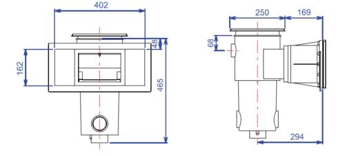Скиммер BWT, модель SL-117-M, широкая горловина, без удлинения, для лайнера - изображение 2