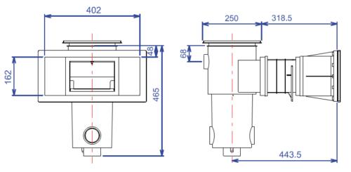 Скиммер BWT, модель SL-119-M, широкая горловина, с удлинением, для лайнера - изображение 2