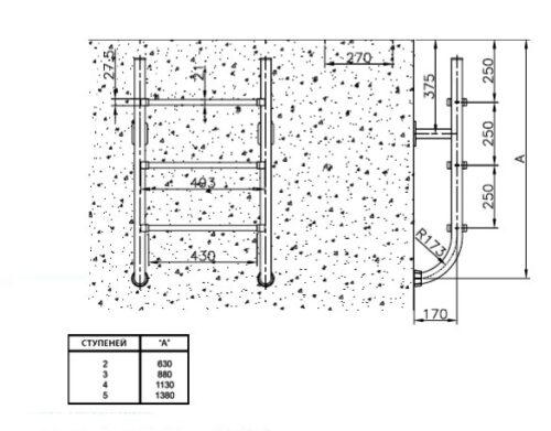 Нижняя часть лестницы, сталь AISI 316 - изображение 2