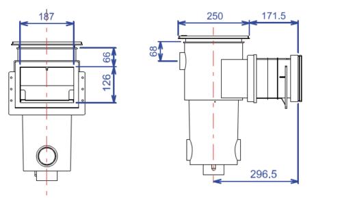 Скиммер BWT, модель SL-111-M, узкая горловина, без удлинения, для лайнера - изображение 2