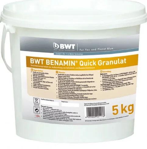 БЫСТРОРАСТВОРИМЫЕ ГРАНУЛЫ для дезинфекции воды в бассейне BWT BENAMIN QUICK (5 КГ)
