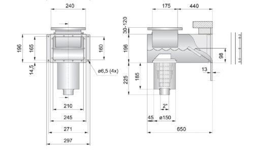Скиммер PAHLEN нерж.сталь с удлиненной горловиной под бетон - изображение 2