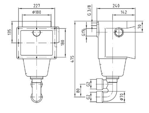 """Скиммер бронза, глубина 240 мм, подключение 2"""" с аварийным переливом - изображение 2"""
