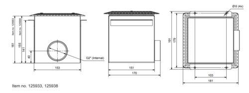 Донный/стеновой забор воды  PAHLEN нерж. сталь под бетон, внутренняя резьба 2″ - изображение 2