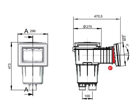 Скиммер Vagner, VA 17.5L,  296 х 228, с наклоном 6 град., с латунными вставками, под пленку - изображение 2