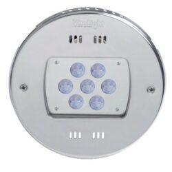 Подводный светодиодный прожектор, 4 цвета/28 диодов, 24V/DC, 6000К,  дневной белый свет, 5м кабеля 2х1,5мм2. Ø- 270 мм.
