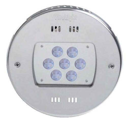 Подводный светодиодный прожектор, 4 цвета/28 диодов, 24V/DC, RGBW, 11100LM, 5м кабеля 2х1,5мм2.  Ø-270 мм