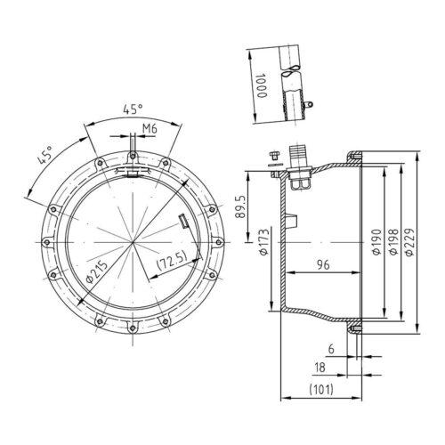 Закладная для прожектора  4130020, светодиодных прожекторов Ø-270 мм (4 цвета/28 диодов;  4 цвета/16 диодов), бронза - изображение 2