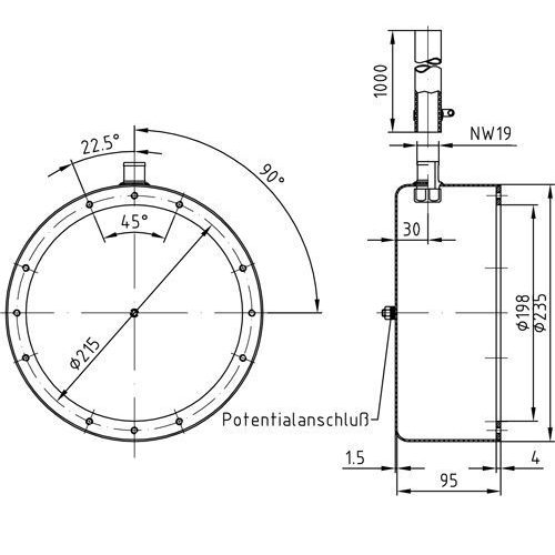 Закладная для прожектора Ø-270 мм (4 цвета/28 диодов;  4 цвета/16 диодов), нерж.сталь - изображение 2